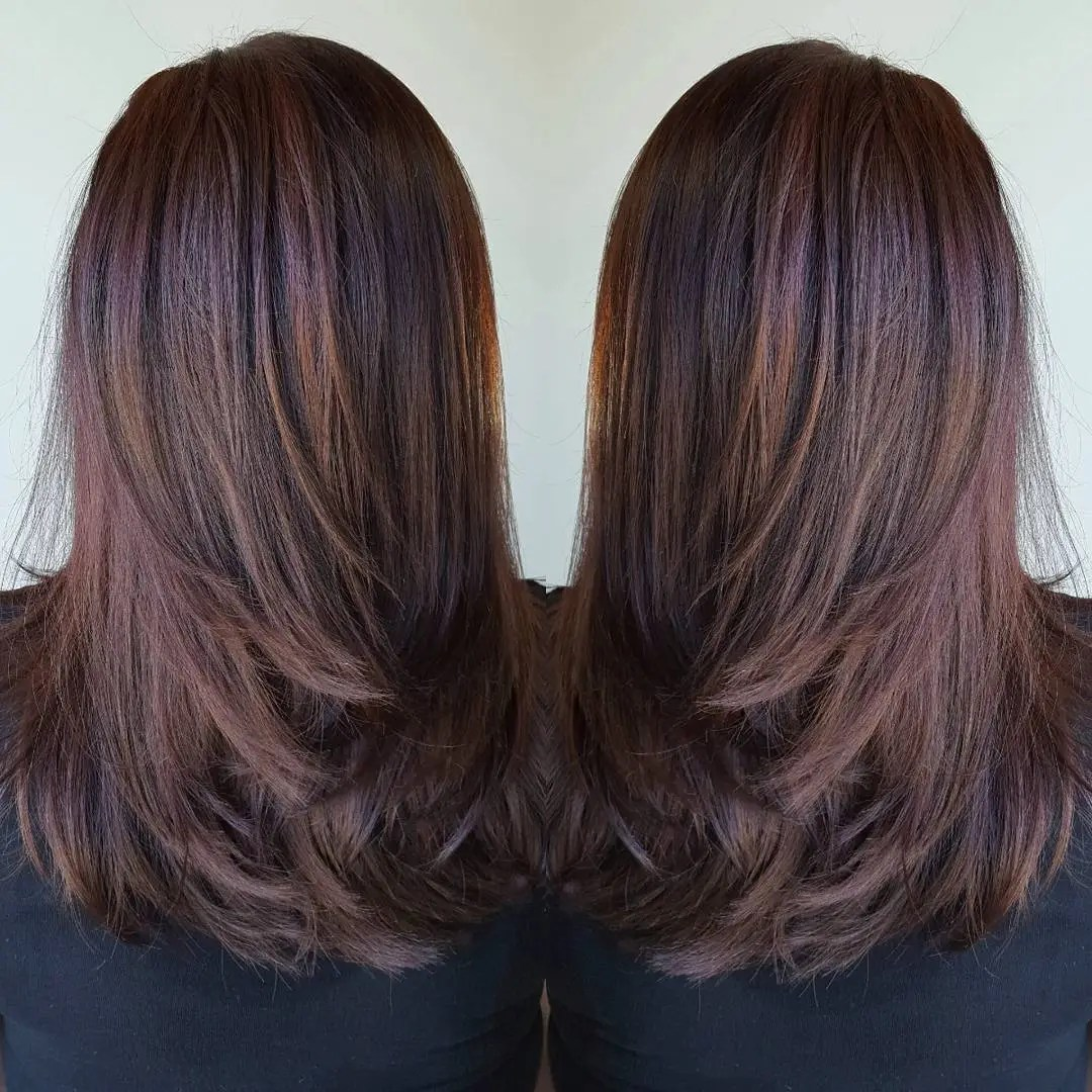 Long Layered Chocolate Hairstyle for Straight Hair