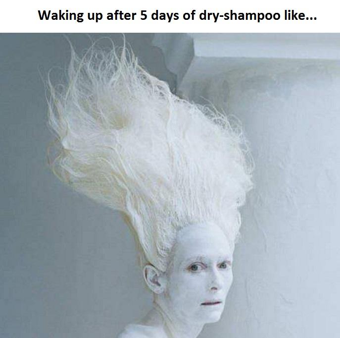 too much dry shampoo meme Tilda Swinton