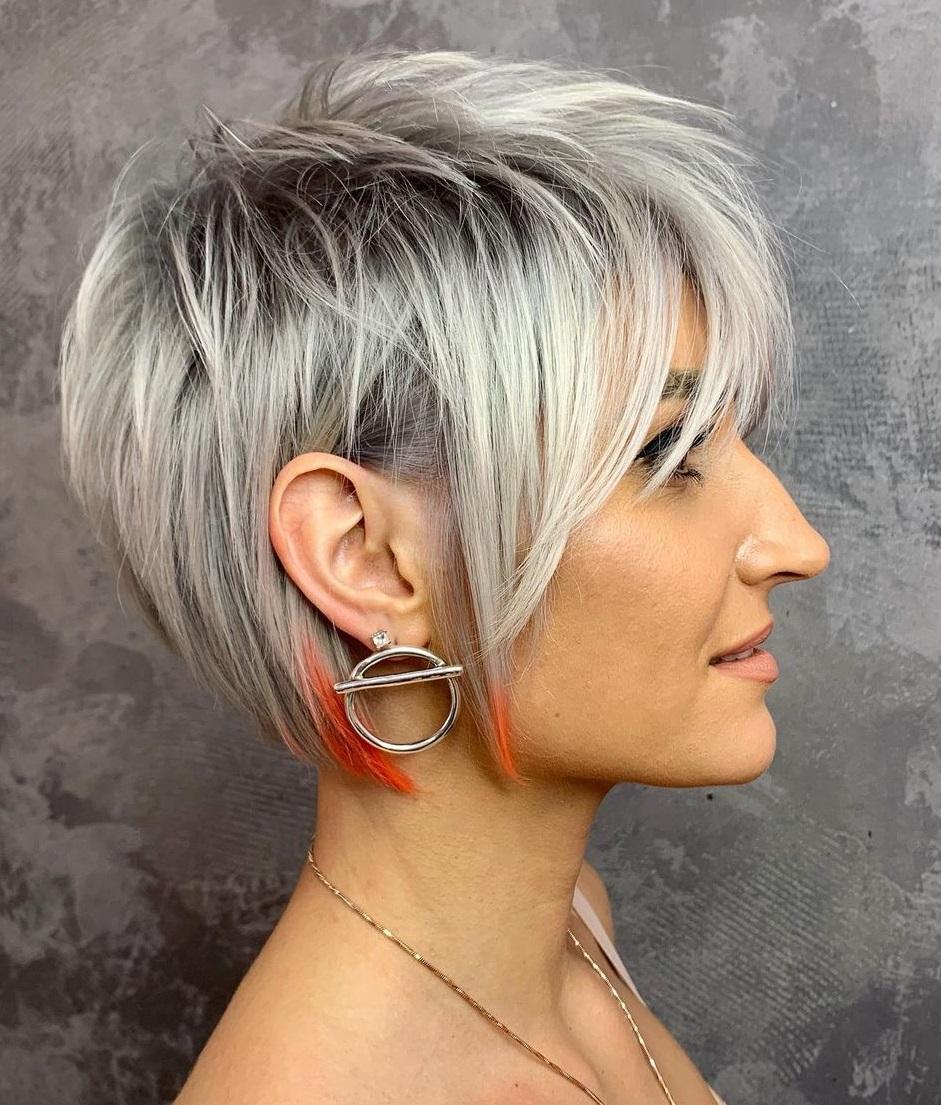 Long Shaggy Silver Pixie Haircut