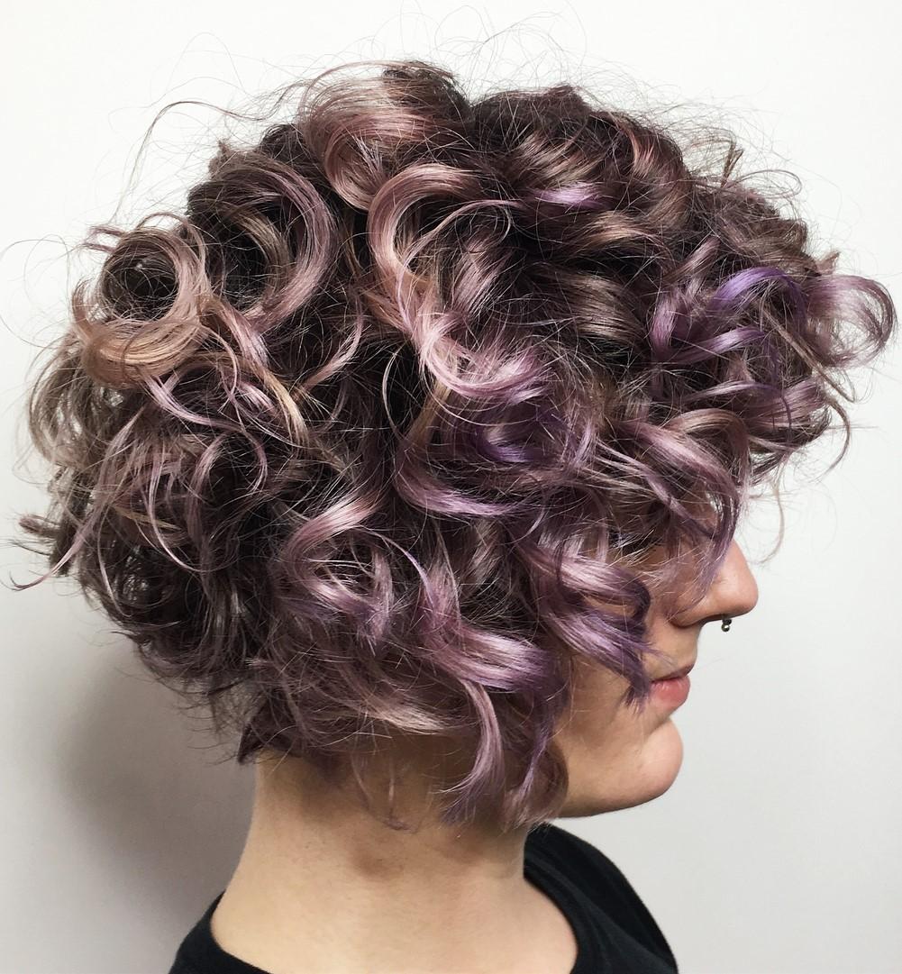 Short Wavy Purple Brown Hairstyle