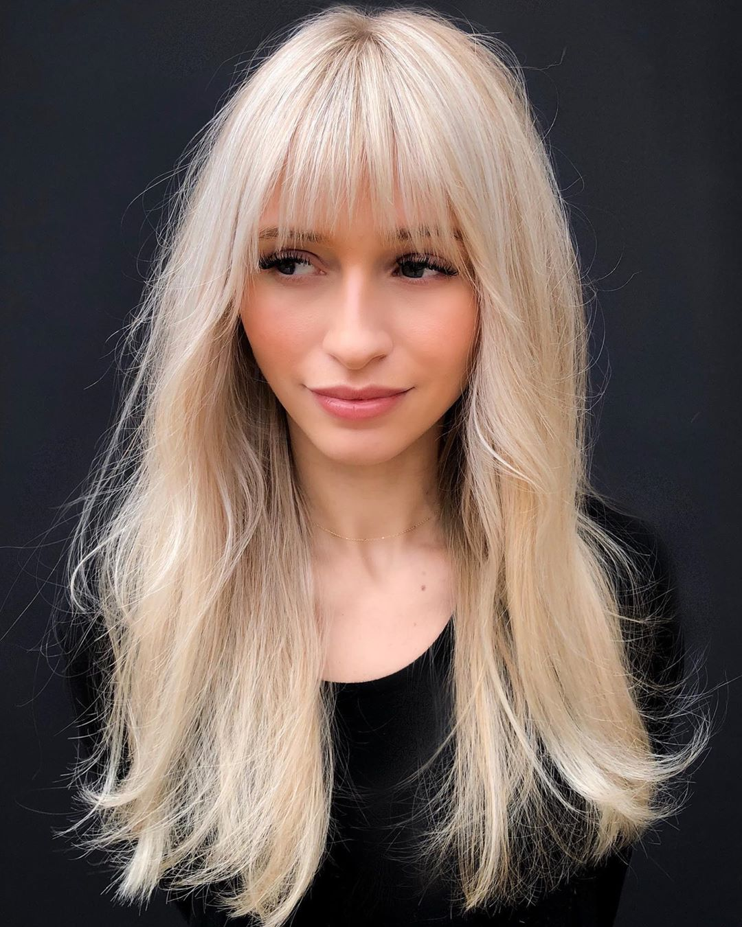 Long Blonde Hair with Thin Bangs
