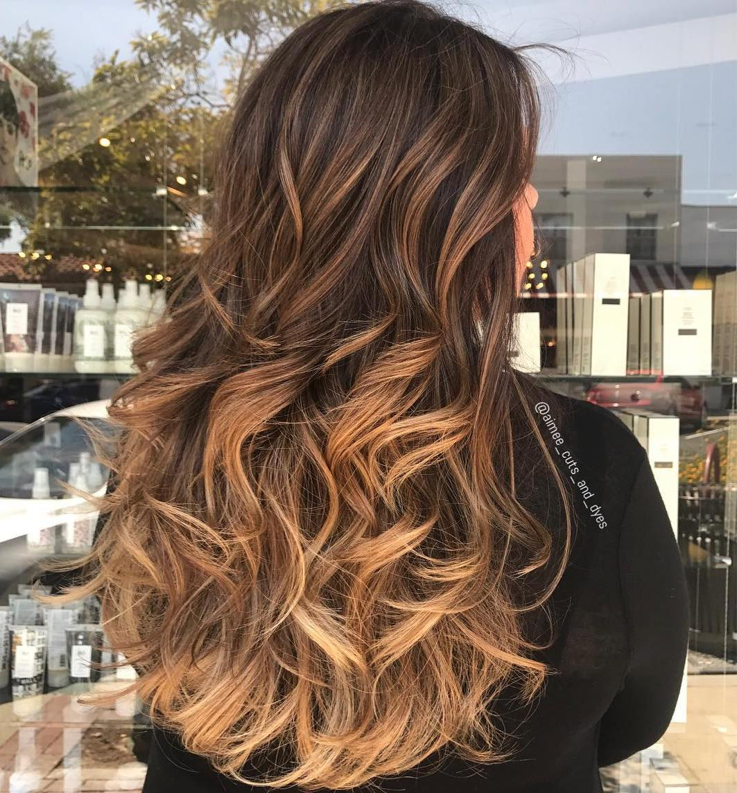 Dark Brunette Hair with Golden Highlights
