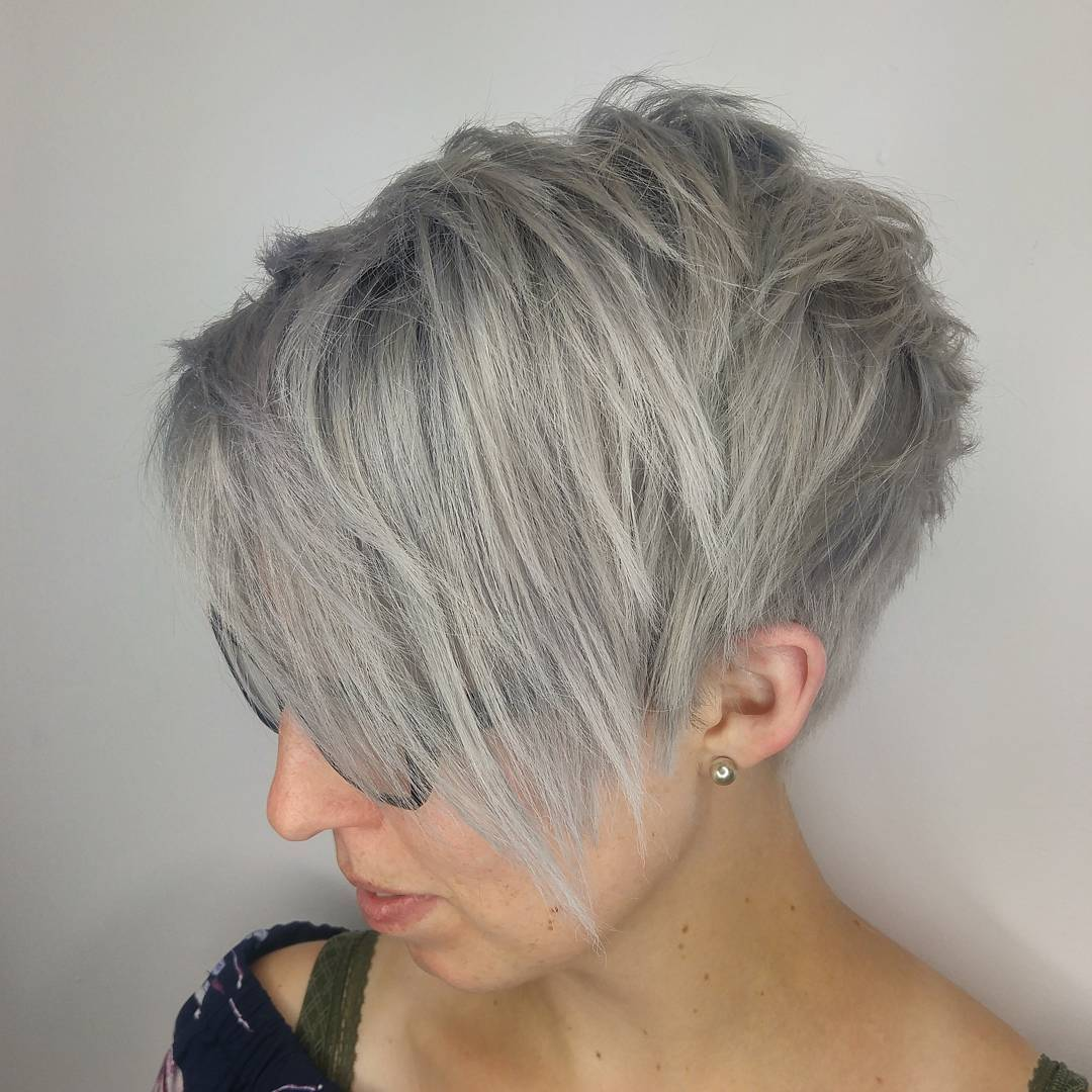 Gray Choppy Tapered Pixie