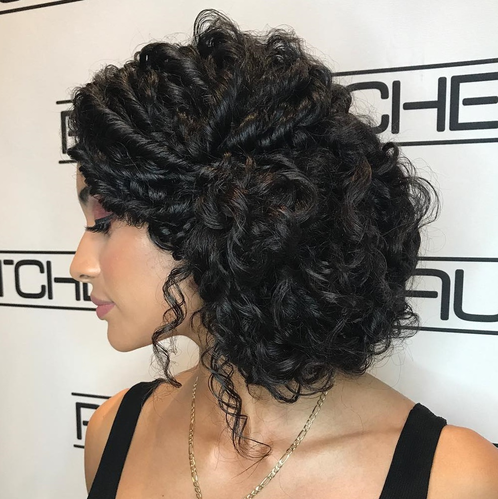 Twisted Updo for Long Curly Hair