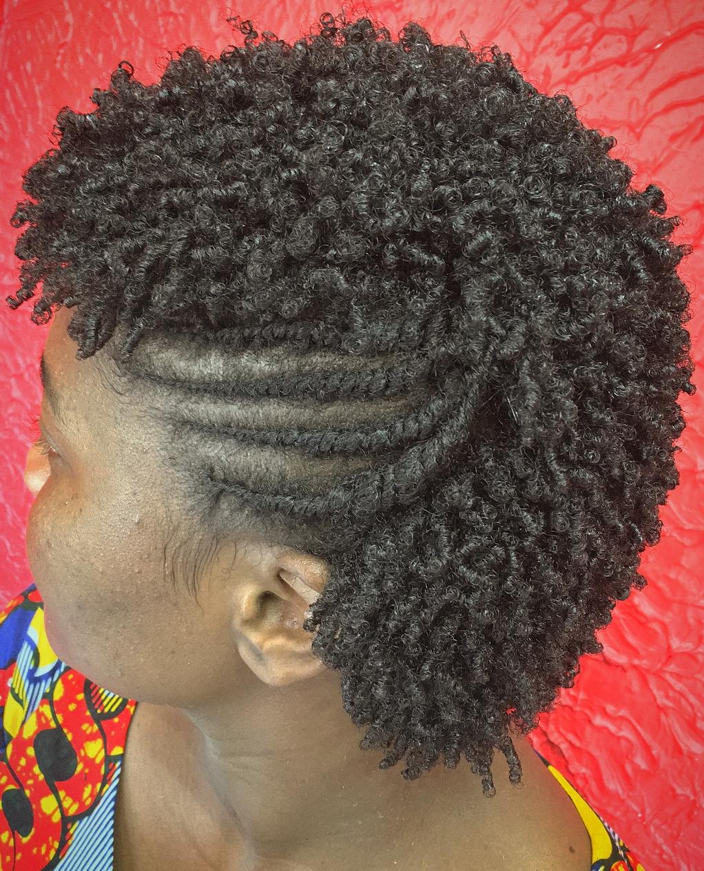 Short Kinky Curls with Side flat Twists