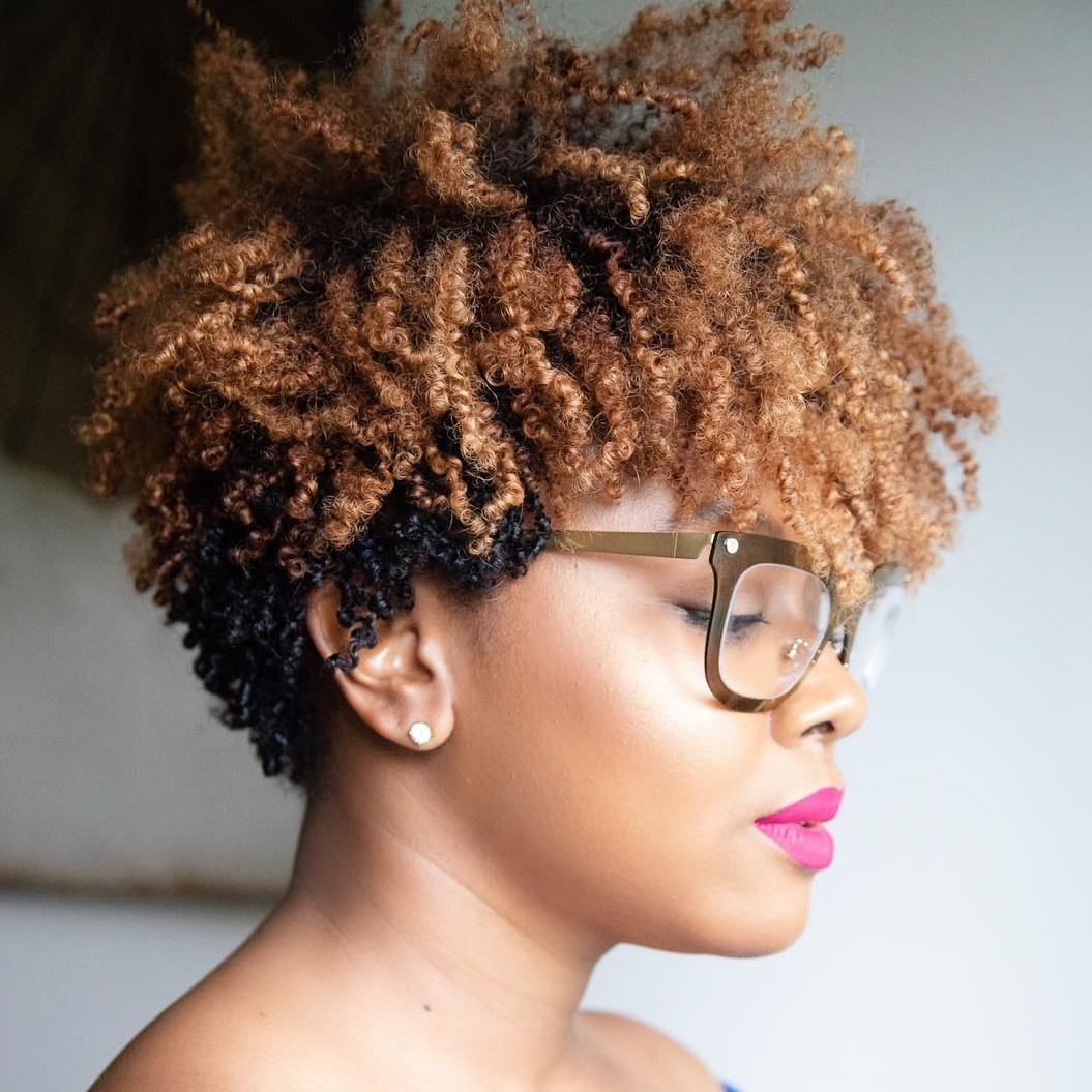 Two-Tone Tapered Cut for Natural Curls