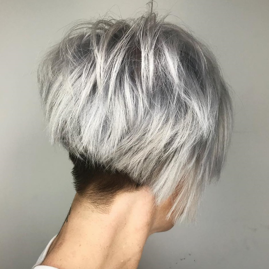 Messy Silver Pixie with Nape Undercut