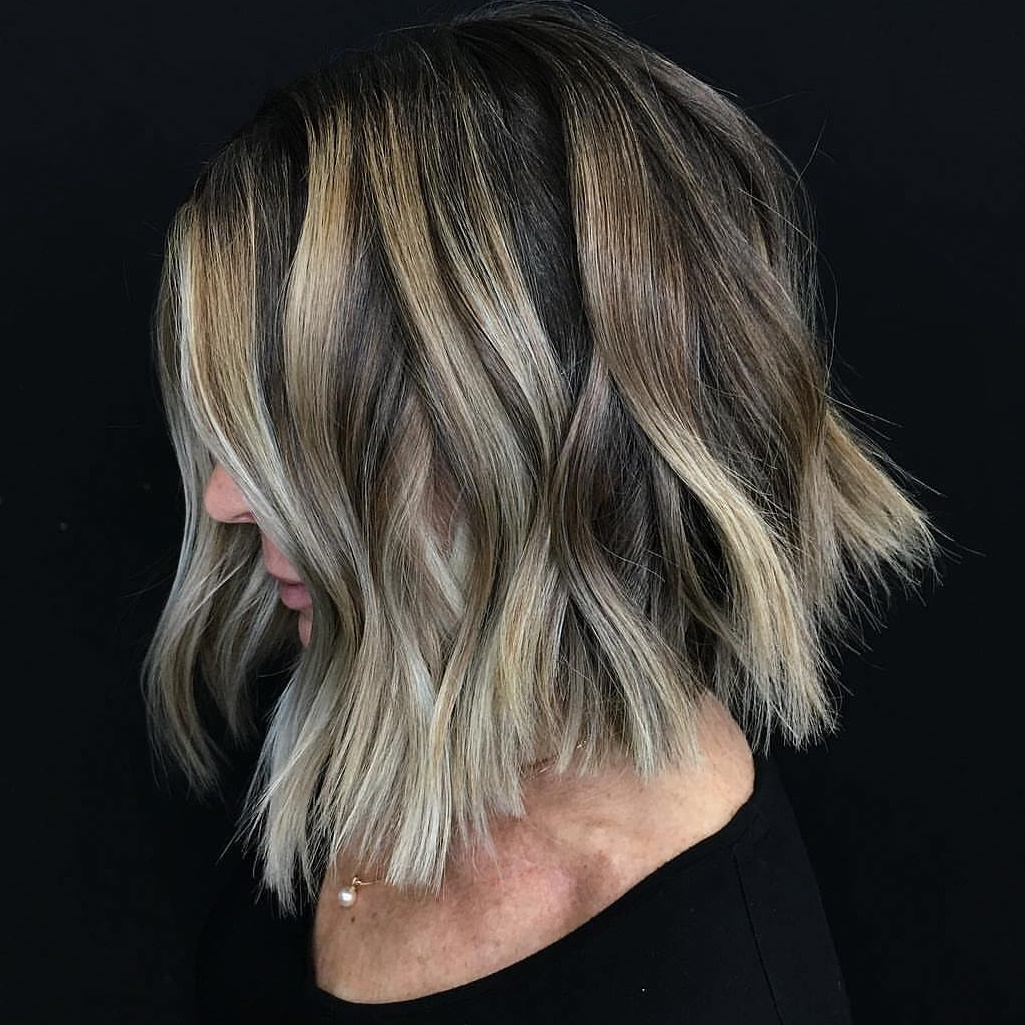 Bronde Balayage Bob with Shaggy Ends