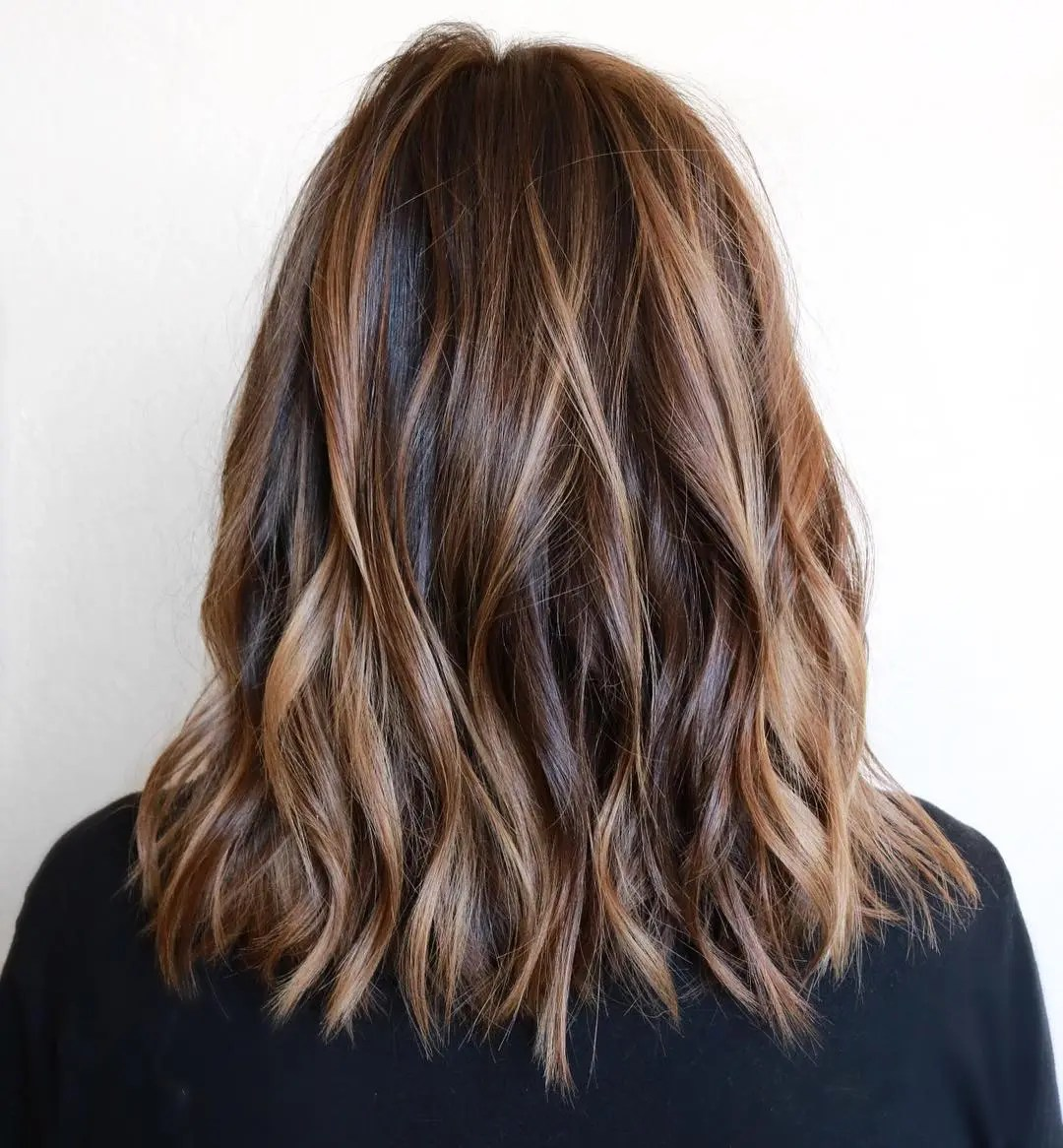 Honey Highlights and Dark Brown Locks