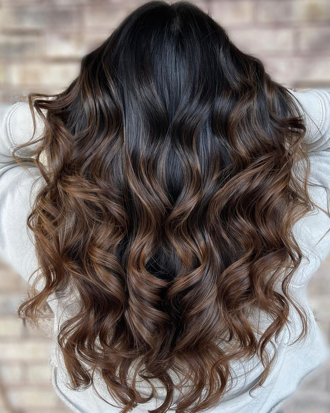 Dark Chocolate Hair with Black Roots