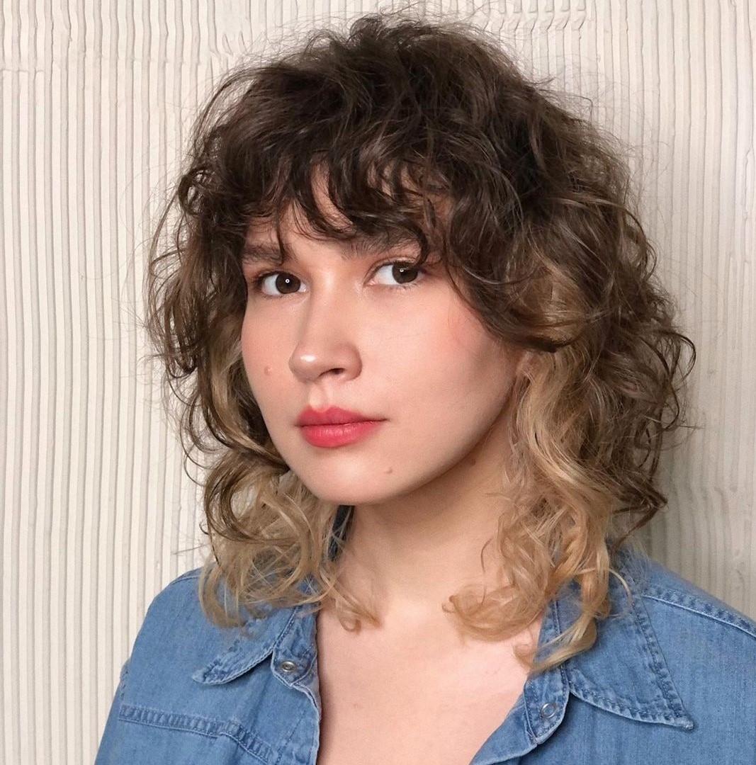 Medium Shaggy Curly Hairstyle