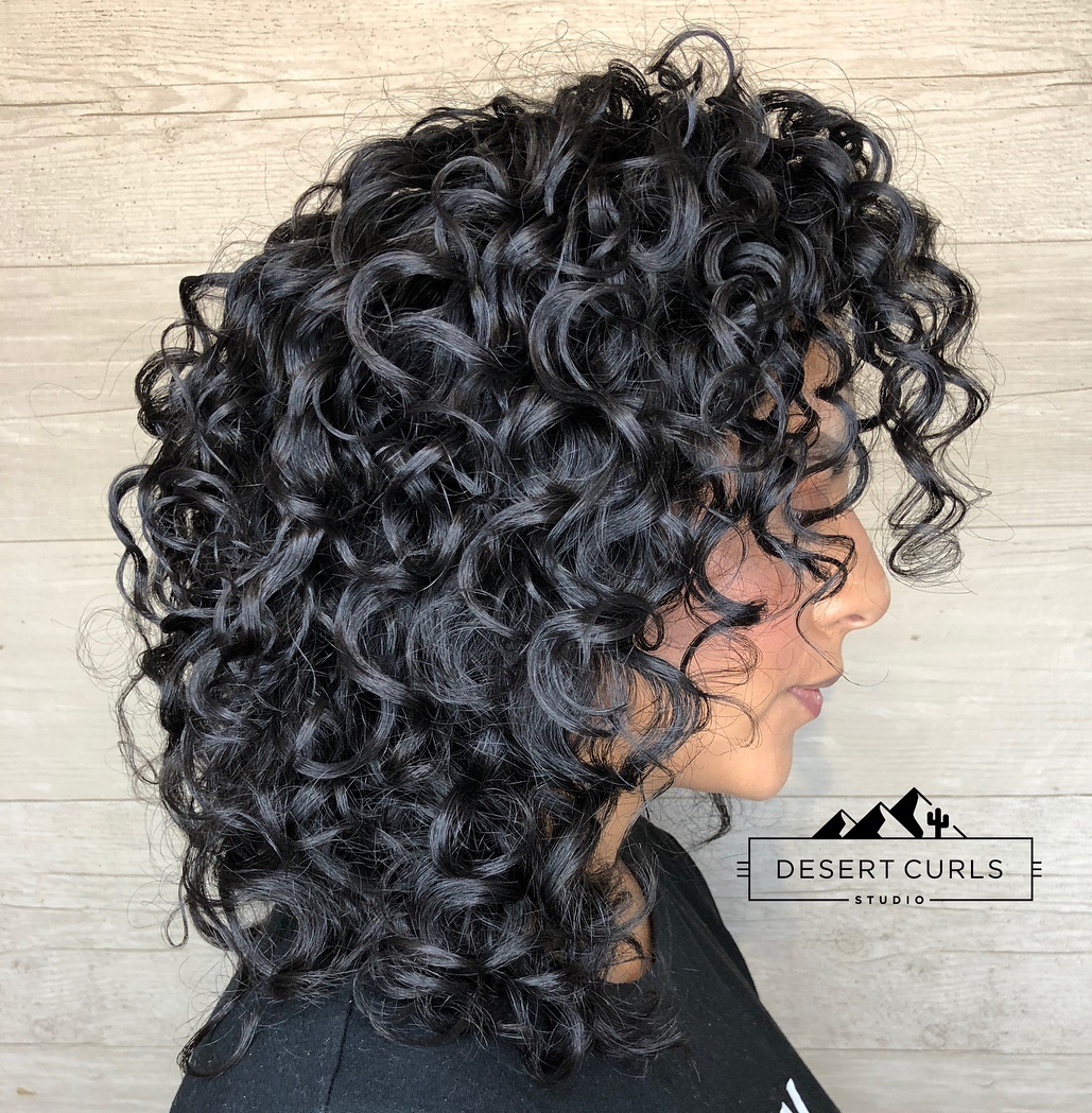 Curly Black Hairstyle with Blue Tint