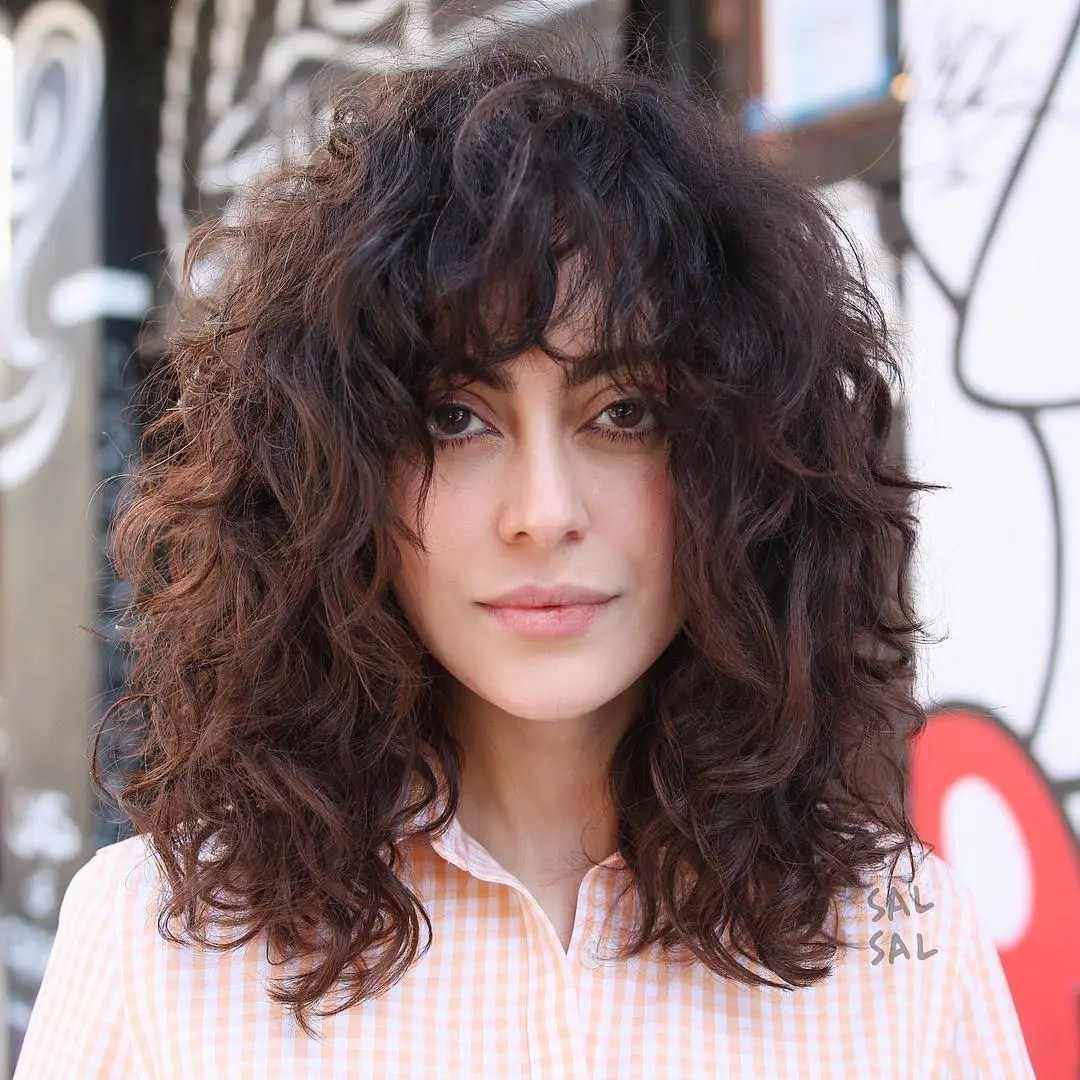 Mid-Length Curly Shag for Thick Hair