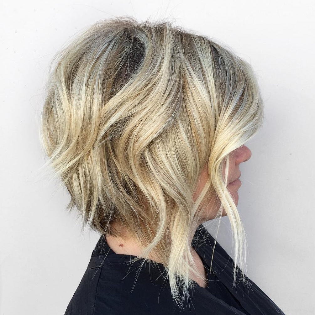 Light Blonde Bob with Shaggy Layers
