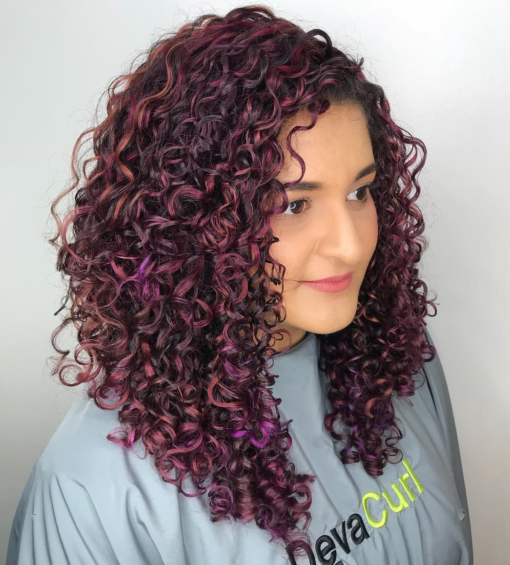 Long Purple and Burgundy Curls