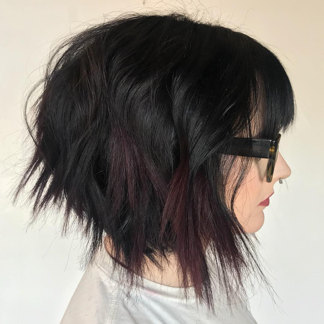 Black Bob with Razored Ends and Bangs