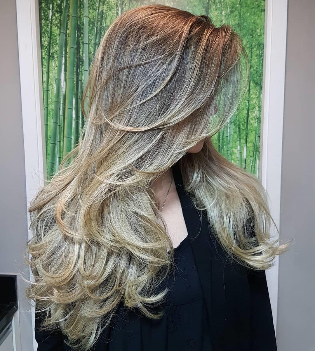Long Blonde Balayage Hair with Layers