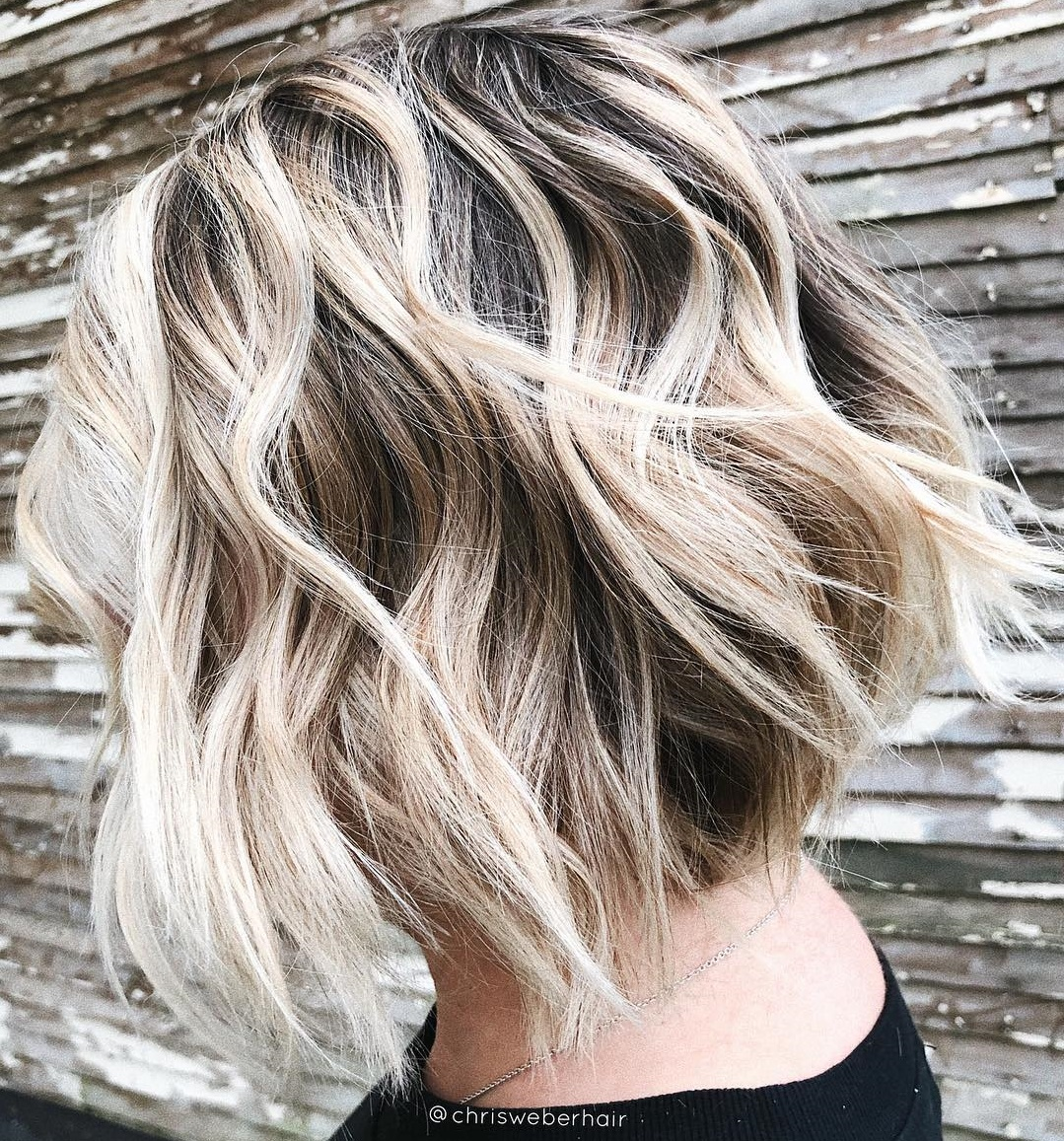 Wavy Feathered Blonde Bob