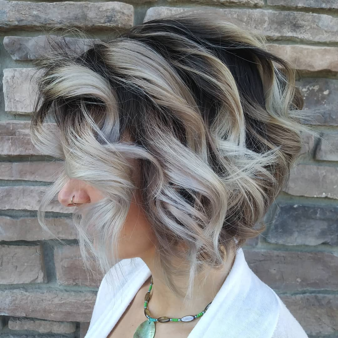 Ash Blonde Balayage Bob with Dark Roots