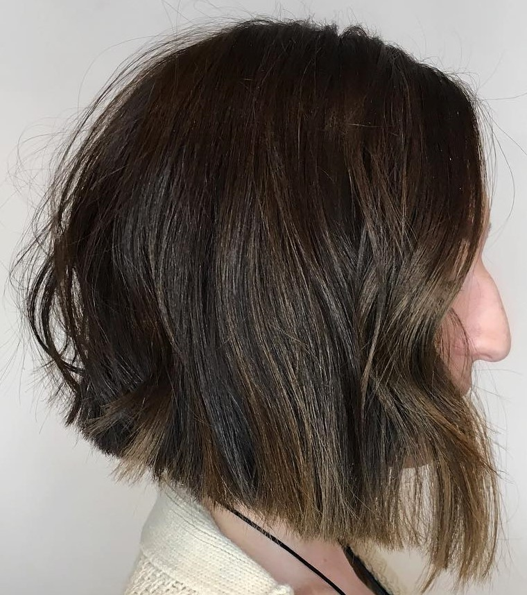 Inverted Blunt Cut Brown Bob