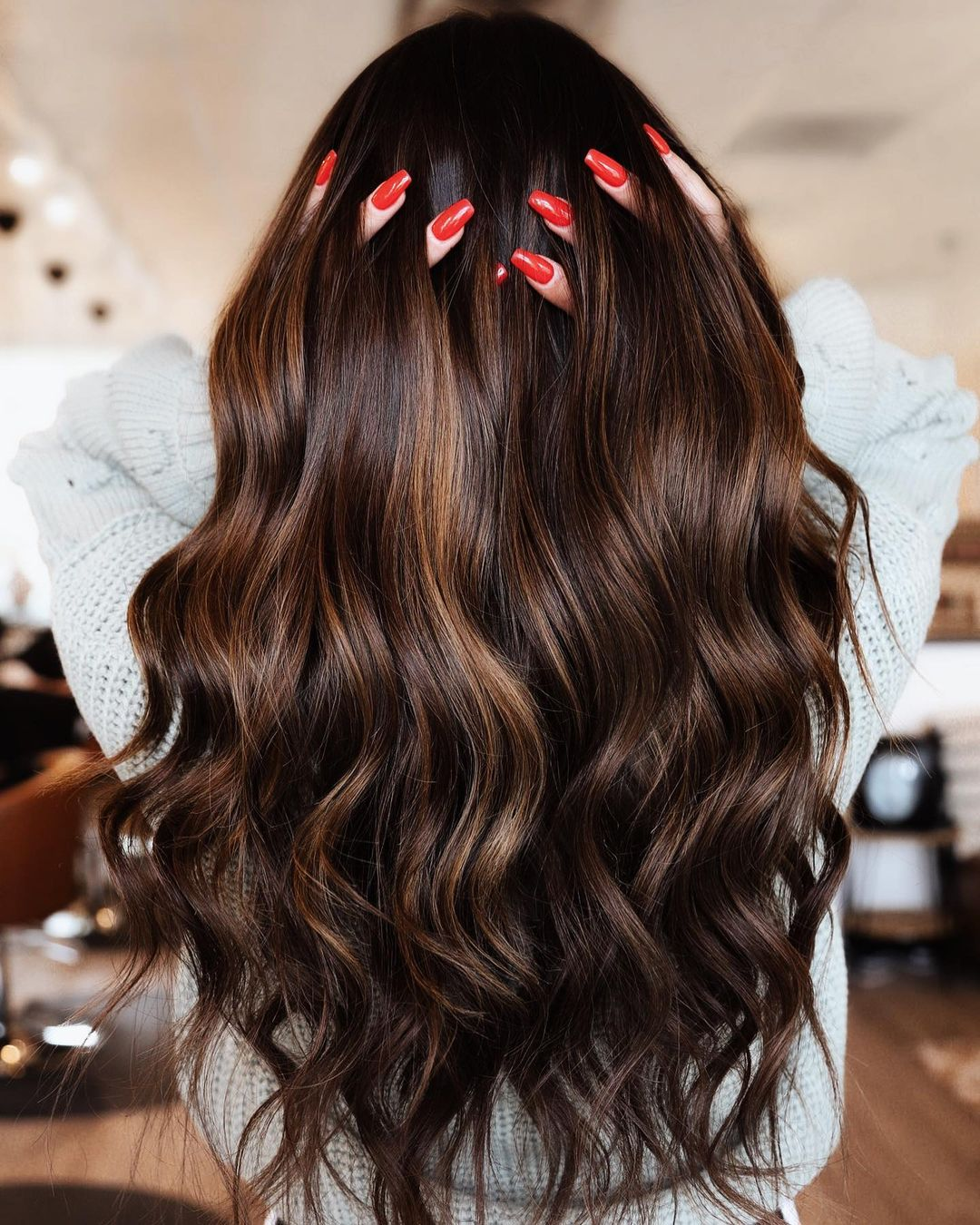 Deep Brunette Hair with Caramel Highlights
