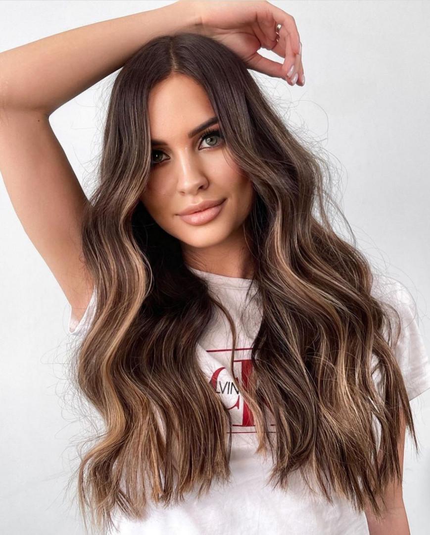 Feminine Long Dark Hair with Highlights