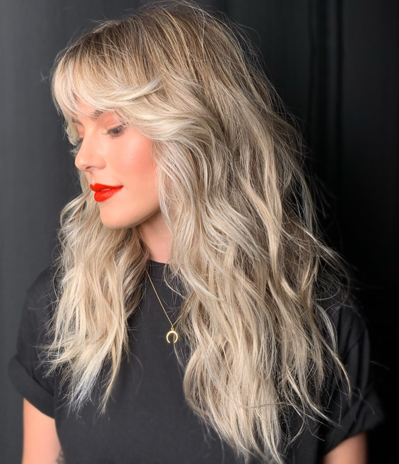 Side Swept Bangs for Long Wavy Hair