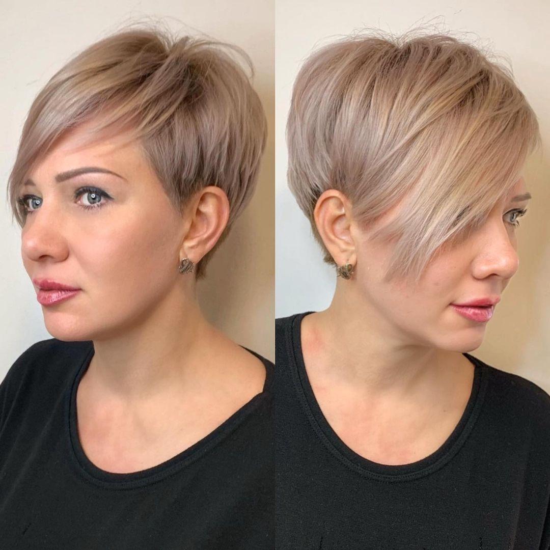Blonde Pixie Bob Haircut with Bangs