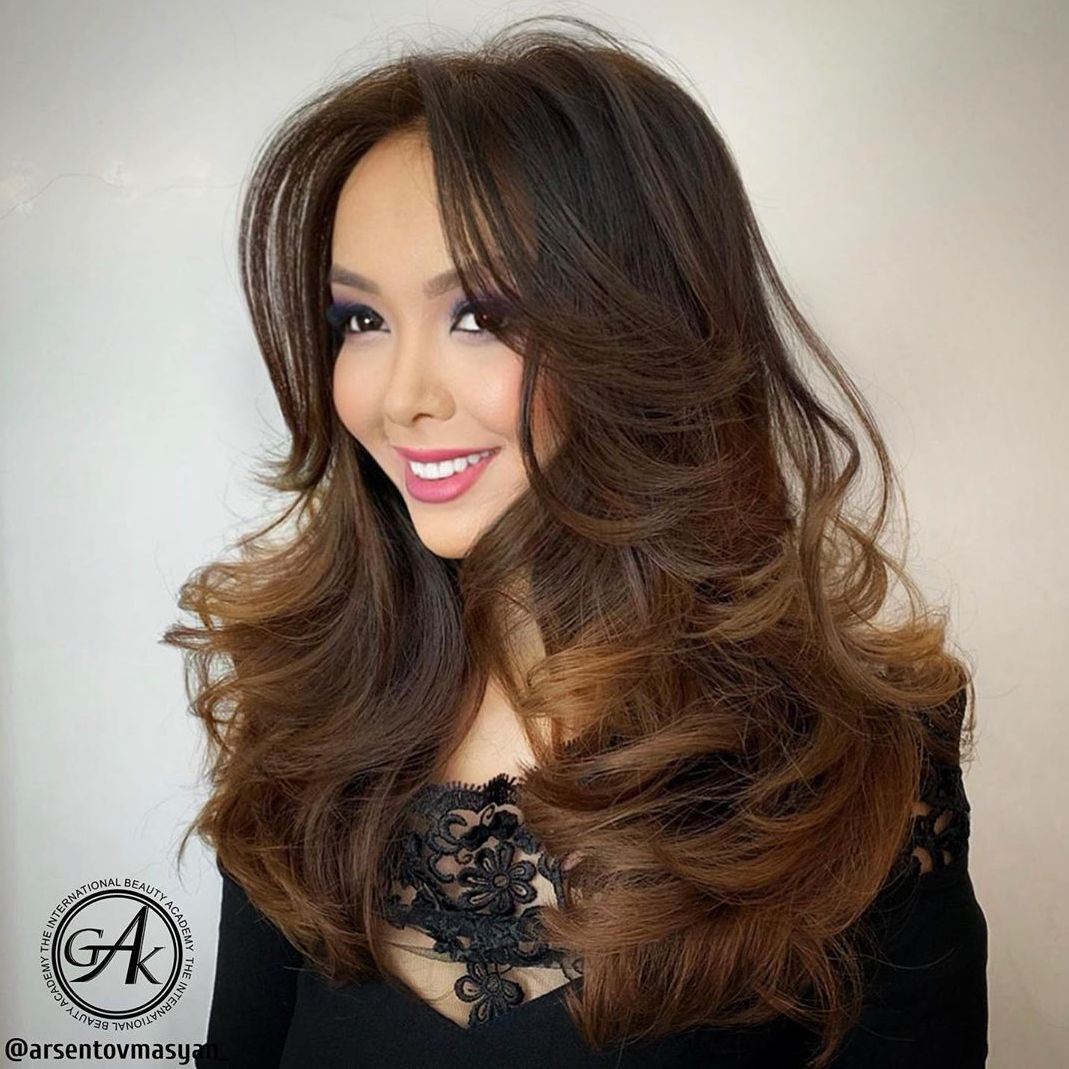 Long Curled Hairstyle with Bangs