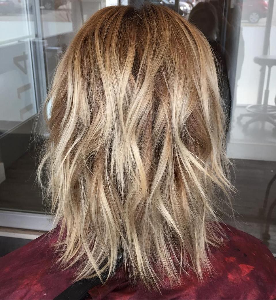 Medium Layered Hair with Waves