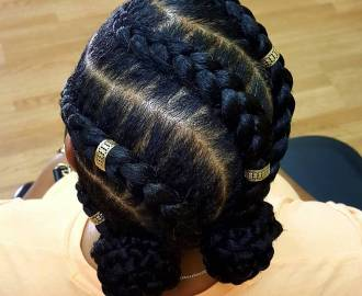 Protective Black Braids with Cuffs
