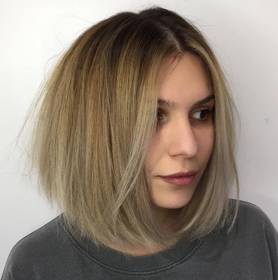 Blonde Center-Parted Bob for Straight Hair