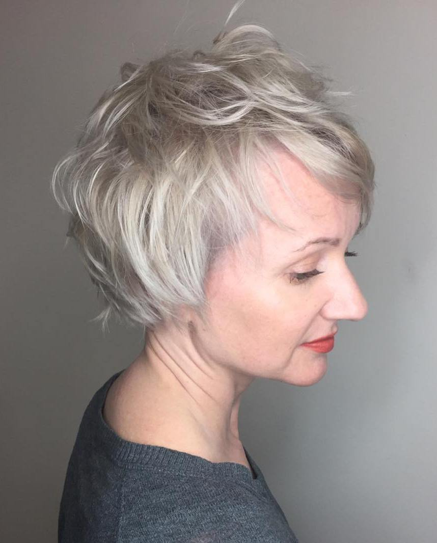 Long Messy Platinum Blonde Pixie