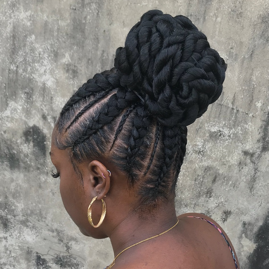 Black Pineapple Bun with Braids