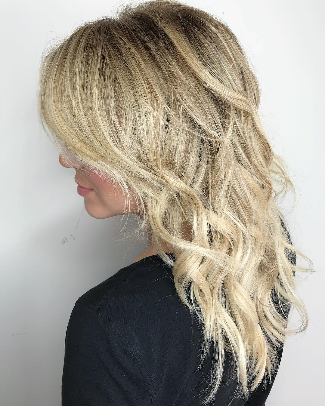 Blonde Shag with Balayage Highlights