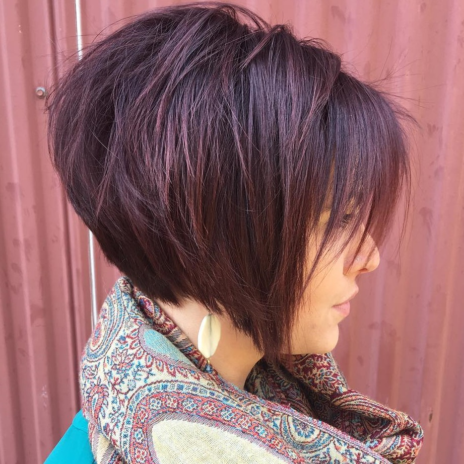 Choppy Stacked Burgundy Bob