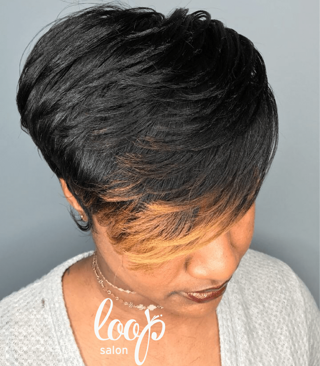 Black Pixie with Blonde Highlights