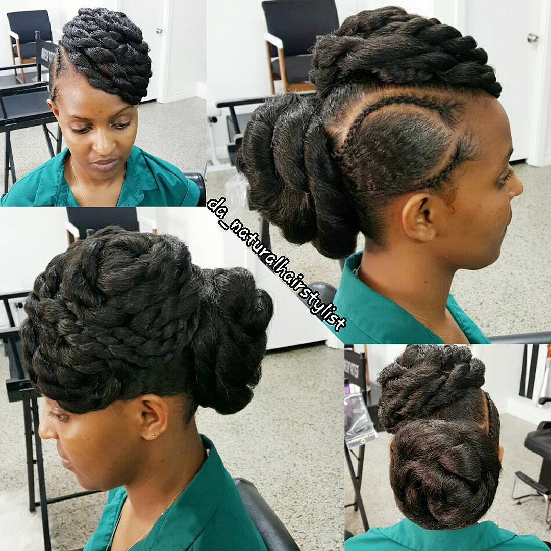 Big Twisted Updo for Natural Hair