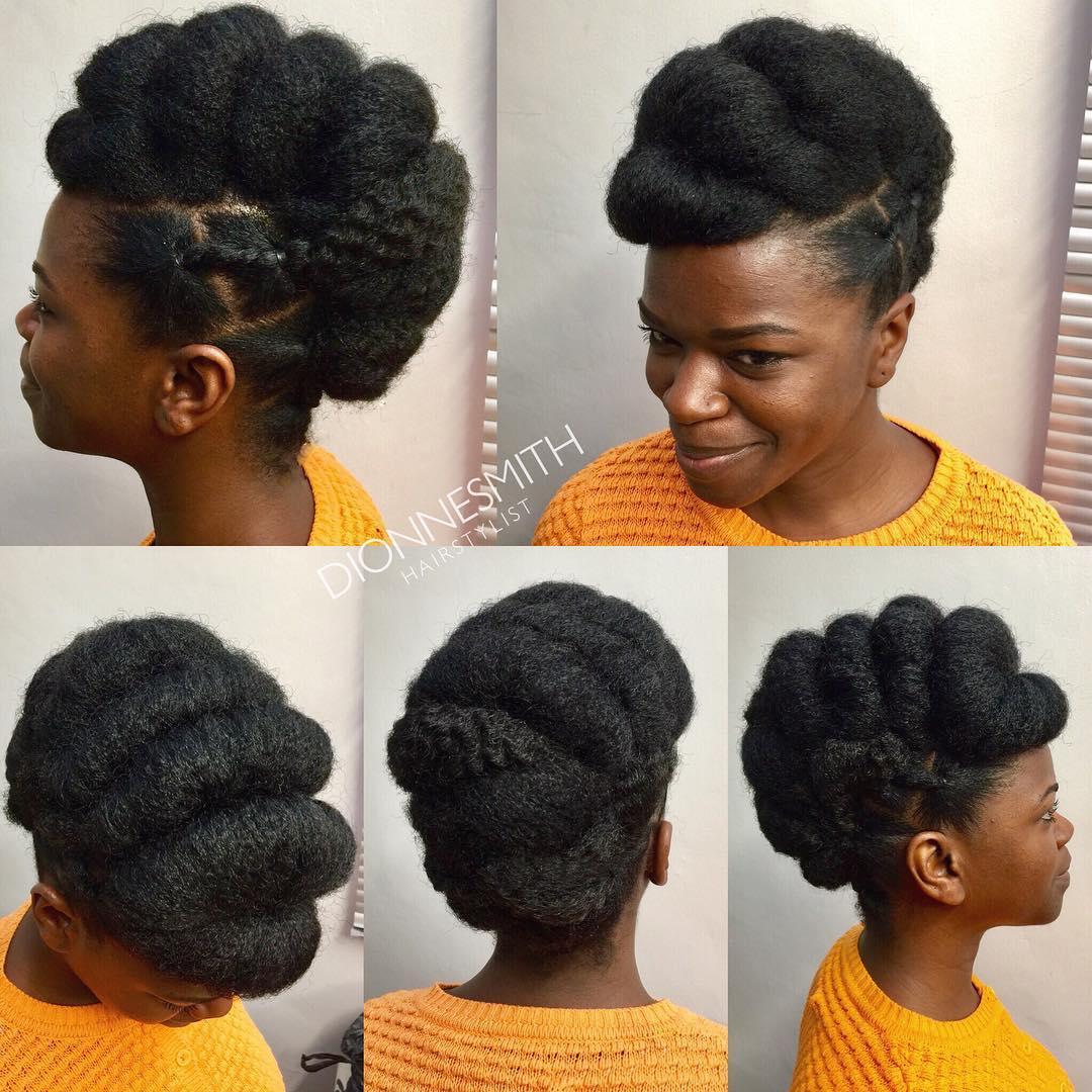 Natural Updo with Side Cornrows
