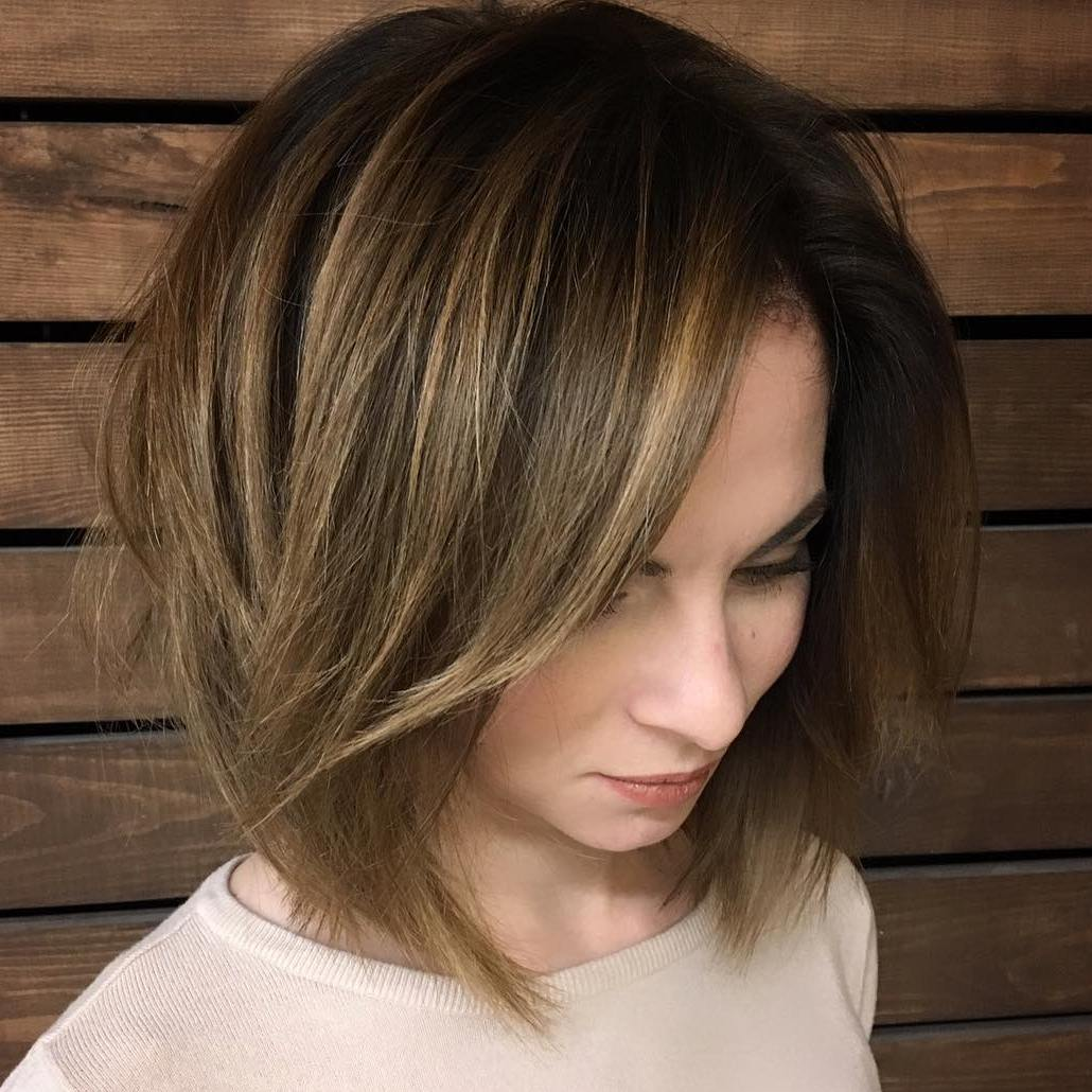 Medium Length Brunette Balayage Hairstyle for Women