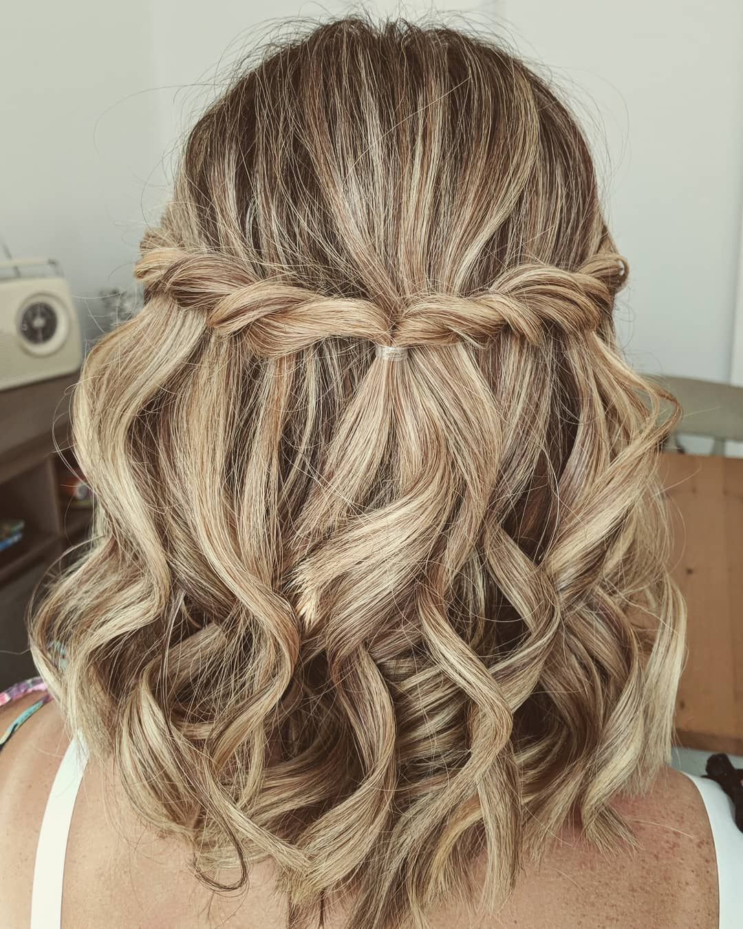 Curly Half Updo with Twists