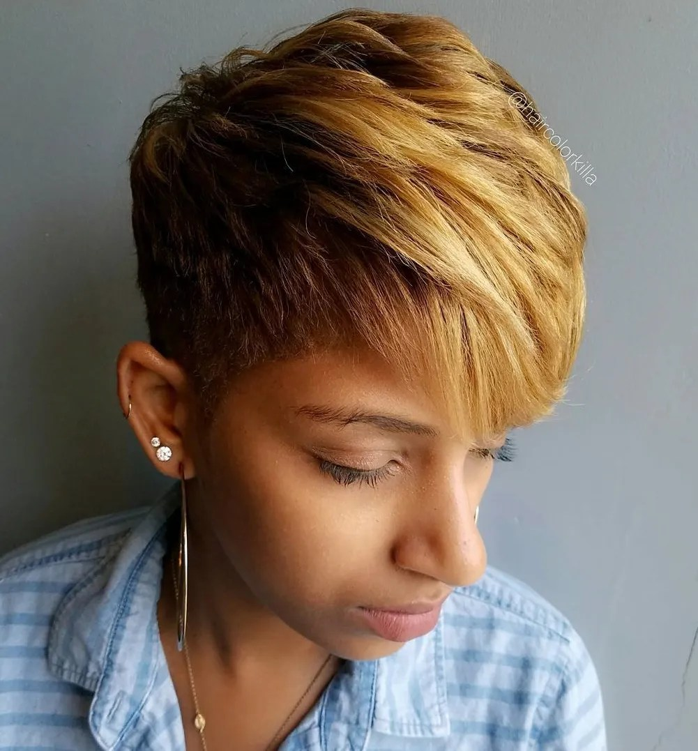 Short Haircut with Golden Blonde Balayage
