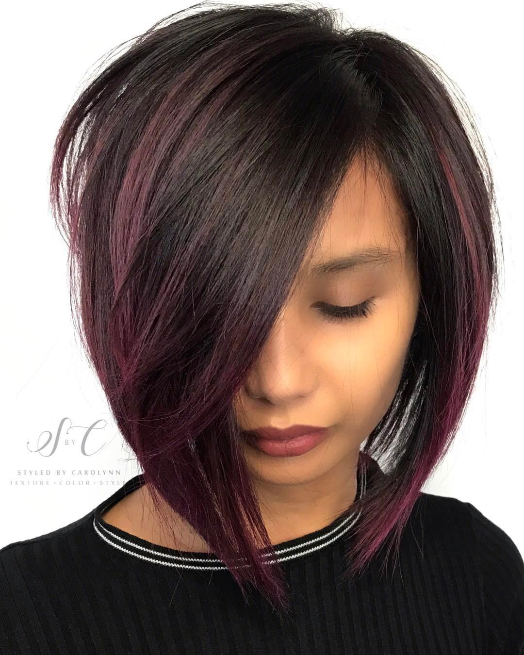 Angled Dark Brown Bob with Purple Highlights