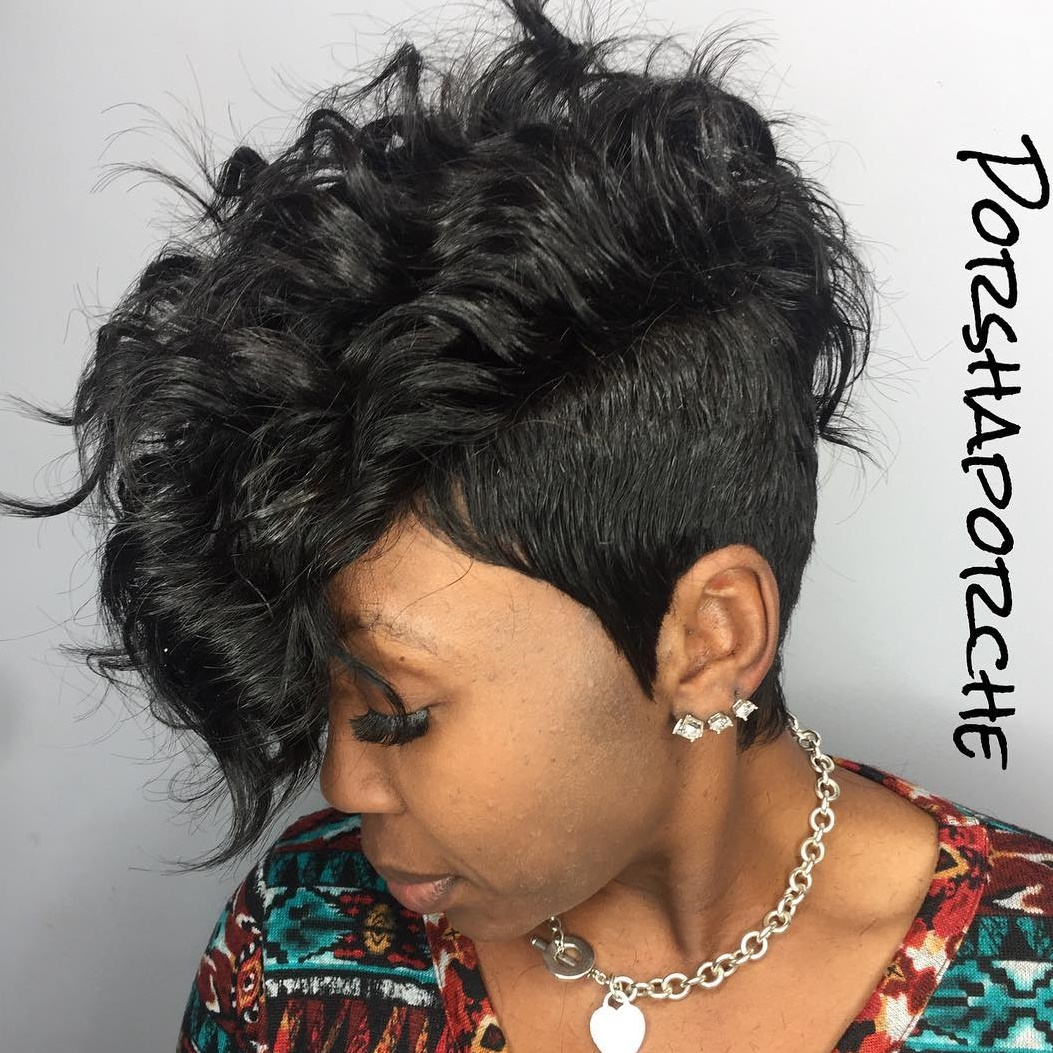 Black Wavy Undercut Hairstyle