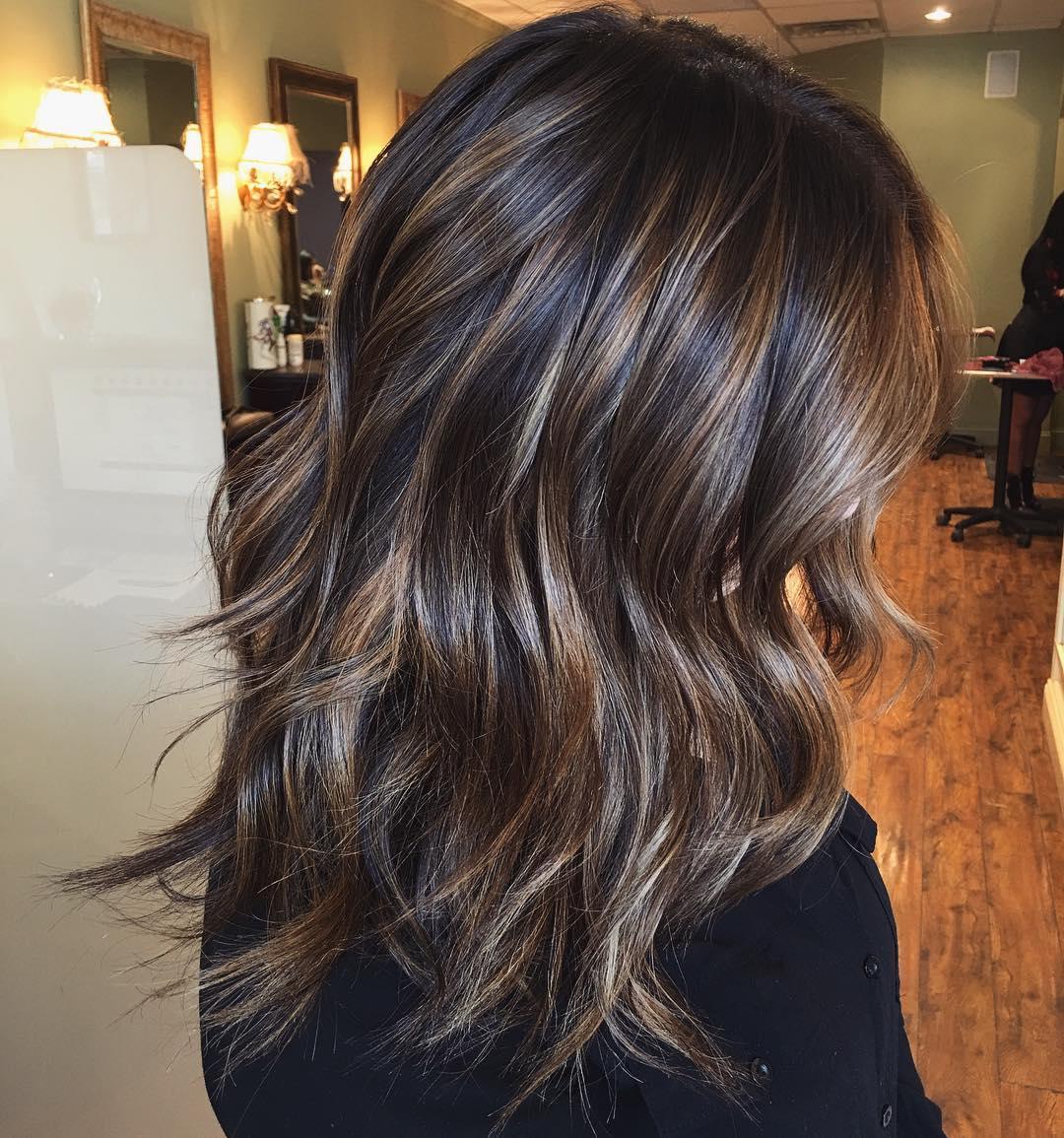 Medium Dark Hair with Caramel Highlights