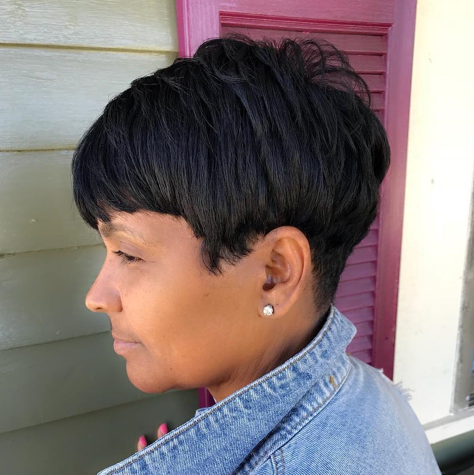 Layered Black Pixie