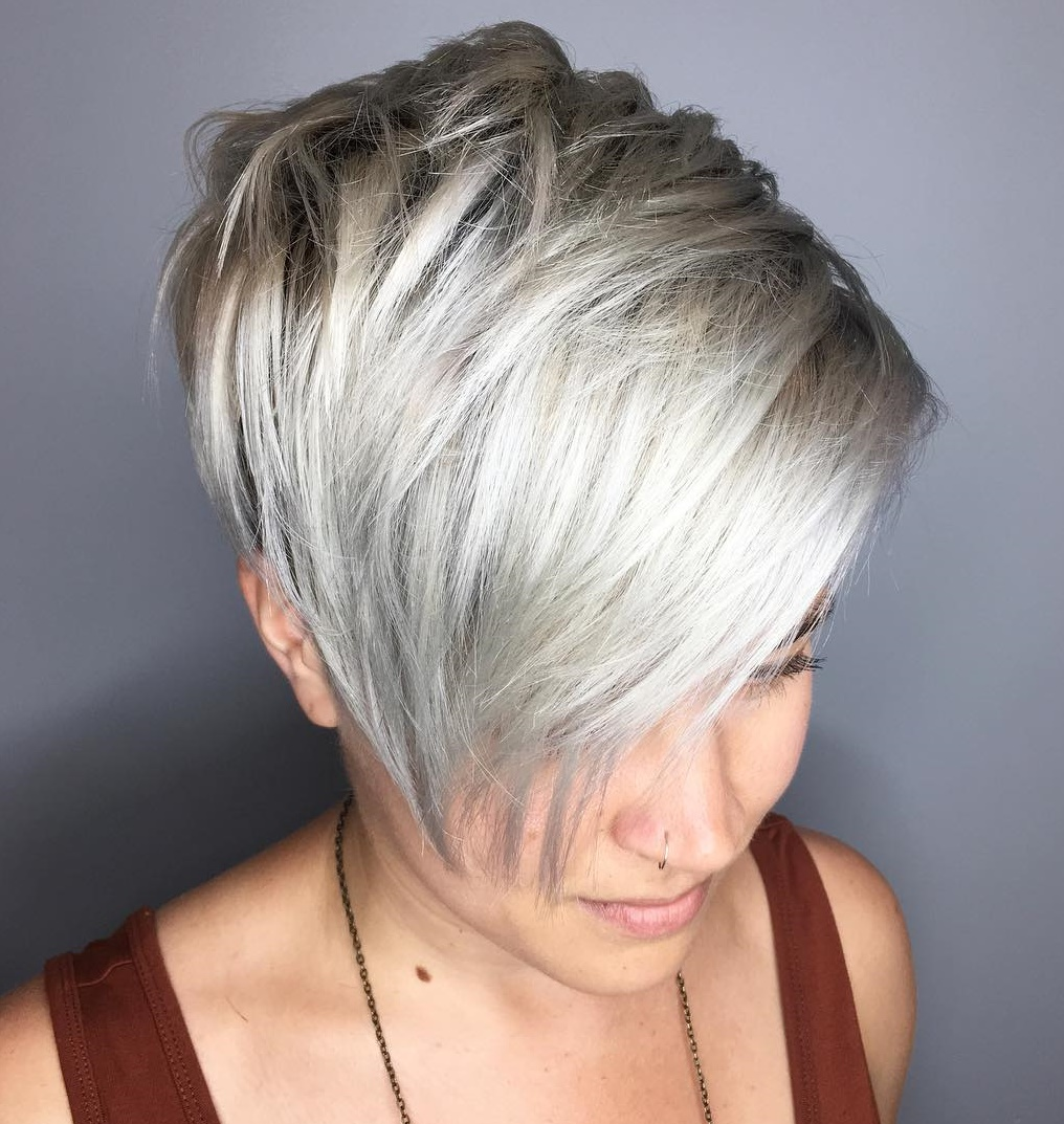 Short Choppy Silver Blonde Pixie