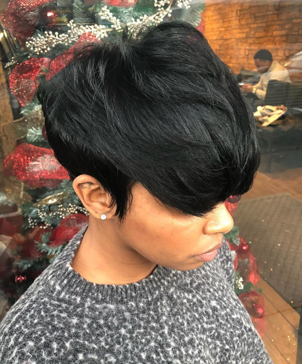 Short Textured Black Haircut with Bangs