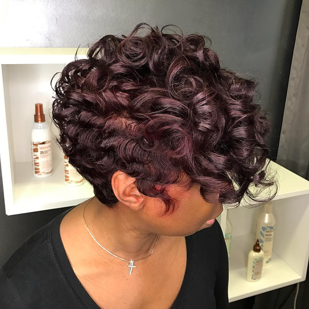 Short Burgundy Curls