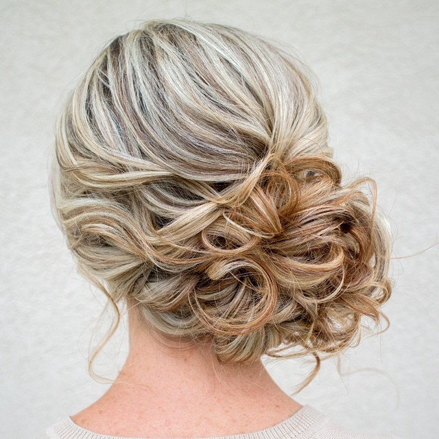 Classy Curly Messy Side Bun